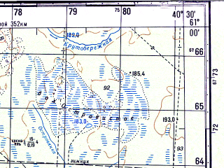 Reduced fragment of topographic map ru--gs--050k--p37-117-1_2--N061-00_E040-00--N060-50_E040-30; towns and cities Konosha