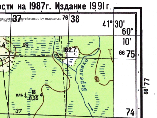 Reduced fragment of topographic map ru--gs--050k--p37-143-3_4--N060-10_E041-00--N060-00_E041-30; towns and cities Yukovskaya