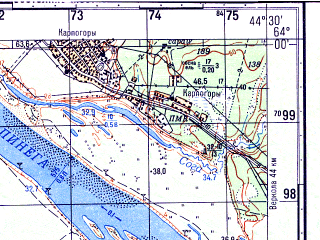 Reduced fragment of topographic map ru--gs--050k--p38-005-1_2--N064-00_E044-00--N063-50_E044-30; towns and cities Karpogory, Kobelevo