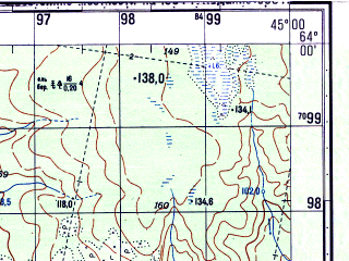 Reduced fragment of topographic map ru--gs--050k--p38-006-1_2--N064-00_E044-30--N063-50_E045-00; towns and cities Kushkopola