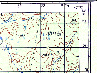 Reduced fragment of topographic map ru--gs--050k--p38-007-3_4--N063-50_E045-00--N063-40_E045-30; towns and cities Verkola, Yavzoro