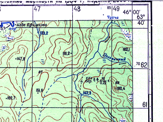 Reduced fragment of topographic map ru--gs--050k--p38-020-1_2--N063-40_E045-30--N063-30_E046-00; towns and cities Shuyga, Gorodetsk
