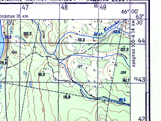 Reduced fragment of topographic map ru--gs--050k--p38-020-3_4--N063-30_E045-30--N063-20_E046-00; towns and cities Kulosega