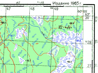 Reduced fragment of topographic map ru--gs--050k--p40-036-1_2--N063-20_E059-30--N063-10_E060-00