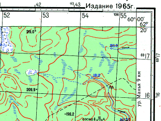Reduced fragment of topographic map ru--gs--050k--p40-072-1_2--N062-20_E059-30--N062-10_E060-00