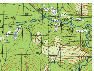 Reduced fragment of topographic map ru--gs--050k--p40-107-3_4--N061-10_E059-00--N061-00_E059-30