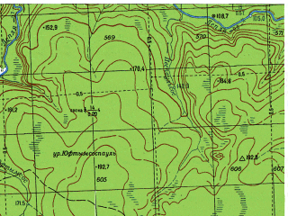 Reduced fragment of topographic map ru--gs--050k--p41-073-3_4--N061-50_E060-00--N061-40_E060-30; towns and cities Yuftymsospaul