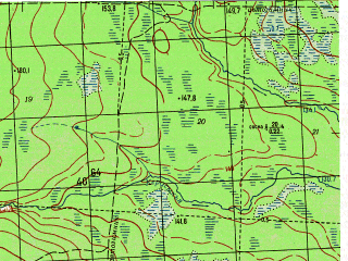 Reduced fragment of topographic map ru--gs--050k--p41-085-1_2--N061-40_E060-00--N061-30_E060-30