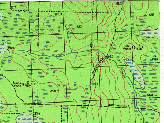 Reduced fragment of topographic map ru--gs--050k--p41-085-3_4--N061-30_E060-00--N061-20_E060-30