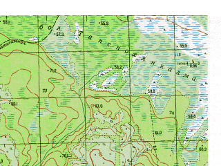 Reduced fragment of topographic map ru--gs--050k--p41-088-3_4--N061-30_E061-30--N061-20_E062-00