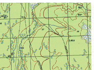 Reduced fragment of topographic map ru--gs--050k--p41-110-3_4--N060-50_E060-30--N060-40_E061-00; towns and cities Pershino, Pynovka