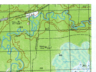 Reduced fragment of topographic map ru--gs--050k--p41-135-1_2--N060-20_E061-00--N060-10_E061-30; towns and cities Arya, Gornaya, Mityayevo