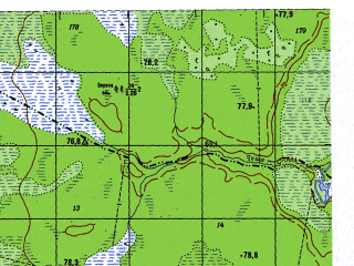 Reduced fragment of topographic map ru--gs--050k--p41-139-3_4--N060-10_E063-00--N060-00_E063-30; towns and cities Oshmarya