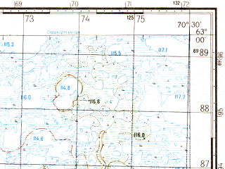 Reduced fragment of topographic map ru--gs--050k--p42-045-1_2--N063-00_E070-00--N062-50_E070-30