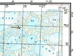Reduced fragment of topographic map ru--gs--050k--p42-059-1_2--N062-40_E071-00--N062-30_E071-30