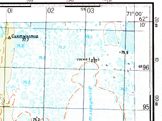 Reduced fragment of topographic map ru--gs--050k--p42-070-3_4--N062-10_E070-30--N062-00_E071-00