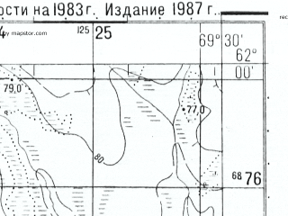 Reduced fragment of topographic map ru--gs--050k--p42-079-1_2--(1987)--N062-00_E069-00--N061-50_E069-30
