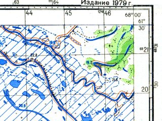 Reduced fragment of topographic map ru--gs--050k--p42-088-3_4--N061-30_E067-30--N061-20_E068-00