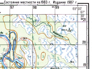 Reduced fragment of topographic map ru--gs--050k--p42-090-3_4--N061-30_E068-30--N061-20_E069-00; towns and cities Kyshik
