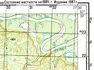 Reduced fragment of topographic map ru--gs--050k--p42-095-3_4--N061-30_E071-00--N061-20_E071-30