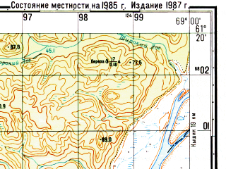 Reduced fragment of topographic map ru--gs--050k--p42-102-1_2--N061-20_E068-30--N061-10_E069-00