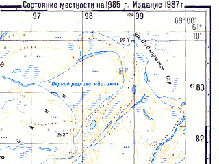 Reduced fragment of topographic map ru--gs--050k--p42-102-3_4--N061-10_E068-30--N061-00_E069-00; towns and cities Belogorye
