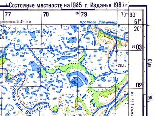 Reduced fragment of topographic map ru--gs--050k--p42-105-1_2--N061-20_E070-00--N061-10_E070-30; towns and cities Seliyarovo
