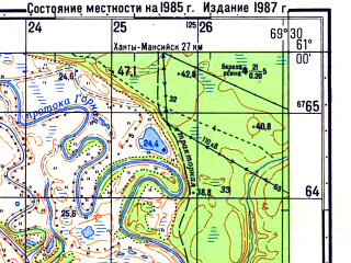 Reduced fragment of topographic map ru--gs--050k--p42-115-1_2--N061-00_E069-00--N060-50_E069-30; towns and cities Manuylovo