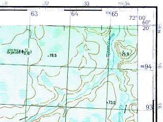 Reduced fragment of topographic map ru--gs--050k--p42-144-1_2--N060-20_E071-30--N060-10_E072-00