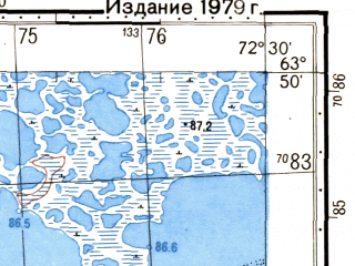 Reduced fragment of topographic map ru--gs--050k--p43-001-3_4--N063-50_E072-00--N063-40_E072-30