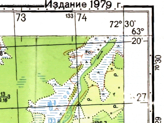 Reduced fragment of topographic map ru--gs--050k--p43-025-1_2--N063-20_E072-00--N063-10_E072-30