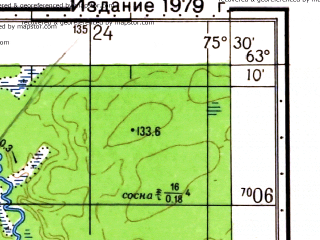 Reduced fragment of topographic map ru--gs--050k--p43-031-3_4--N063-10_E075-00--N063-00_E075-30