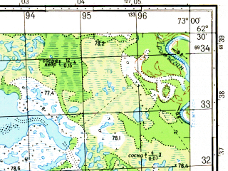 Reduced fragment of topographic map ru--gs--050k--p43-050-3_4--N062-30_E072-30--N062-20_E073-00