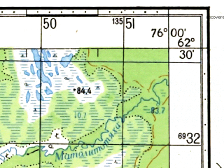 Reduced fragment of topographic map ru--gs--050k--p43-056-3_4--N062-30_E075-30--N062-20_E076-00
