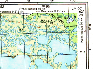 Reduced fragment of topographic map ru--gs--050k--p43-062-1_2--N062-20_E072-30--N062-10_E073-00