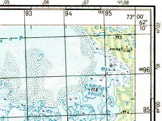 Reduced fragment of topographic map ru--gs--050k--p43-062-3_4--N062-10_E072-30--N062-00_E073-00