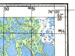 Reduced fragment of topographic map ru--gs--050k--p43-068-1_2--N062-20_E075-30--N062-10_E076-00