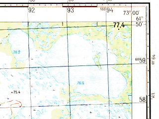 Reduced fragment of topographic map ru--gs--050k--p43-074-3_4--N061-50_E072-30--N061-40_E073-00