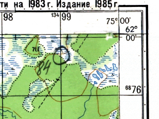 Reduced fragment of topographic map ru--gs--050k--p43-078-1_2--N062-00_E074-30--N061-50_E075-00 in area of Ozero Imnlor