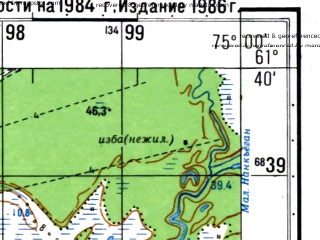 Reduced fragment of topographic map ru--gs--050k--p43-090-1_2--N061-40_E074-30--N061-30_E075-00