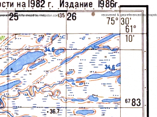 Reduced fragment of topographic map ru--gs--050k--p43-103-3_4--N061-10_E075-00--N061-00_E075-30; towns and cities Obanovy
