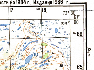 Reduced fragment of topographic map ru--gs--050k--p43-111-1_2--N061-00_E073-00--N060-50_E073-30