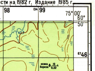 Reduced fragment of topographic map ru--gs--050k--p43-114-3_4--N060-50_E074-30--N060-40_E075-00