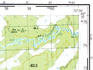 Reduced fragment of topographic map ru--gs--050k--p43-133-3_4--N060-10_E072-00--N060-00_E072-30