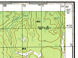Reduced fragment of topographic map ru--gs--050k--p43-137-3_4--N060-10_E074-00--N060-00_E074-30