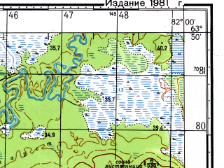 Reduced fragment of topographic map ru--gs--050k--p44-008-3_4--N063-50_E081-30--N063-40_E082-00