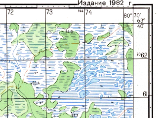 Reduced fragment of topographic map ru--gs--050k--p44-017-1_2--N063-40_E080-00--N063-30_E080-30