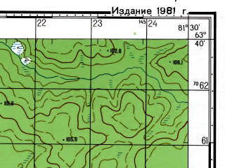 Reduced fragment of topographic map ru--gs--050k--p44-019-1_2--N063-40_E081-00--N063-30_E081-30