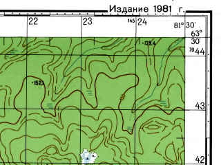 Reduced fragment of topographic map ru--gs--050k--p44-019-3_4--N063-30_E081-00--N063-20_E081-30