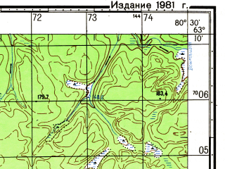 Reduced fragment of topographic map ru--gs--050k--p44-029-3_4--N063-10_E080-00--N063-00_E080-30